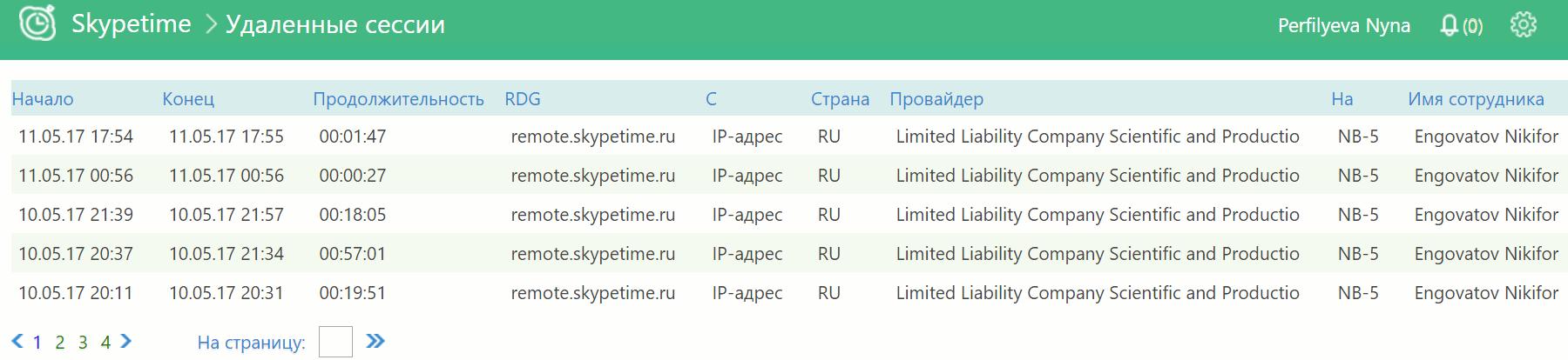 skypetime отчет по удаленным сессиям